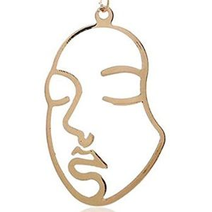 Trendy Abstract Face Necklace